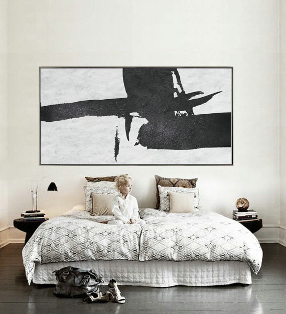 "Extra Large 72"" Horizontal Acrylic Painting On Canvas, Minimalist Painting Canvas Art, Black And White"
