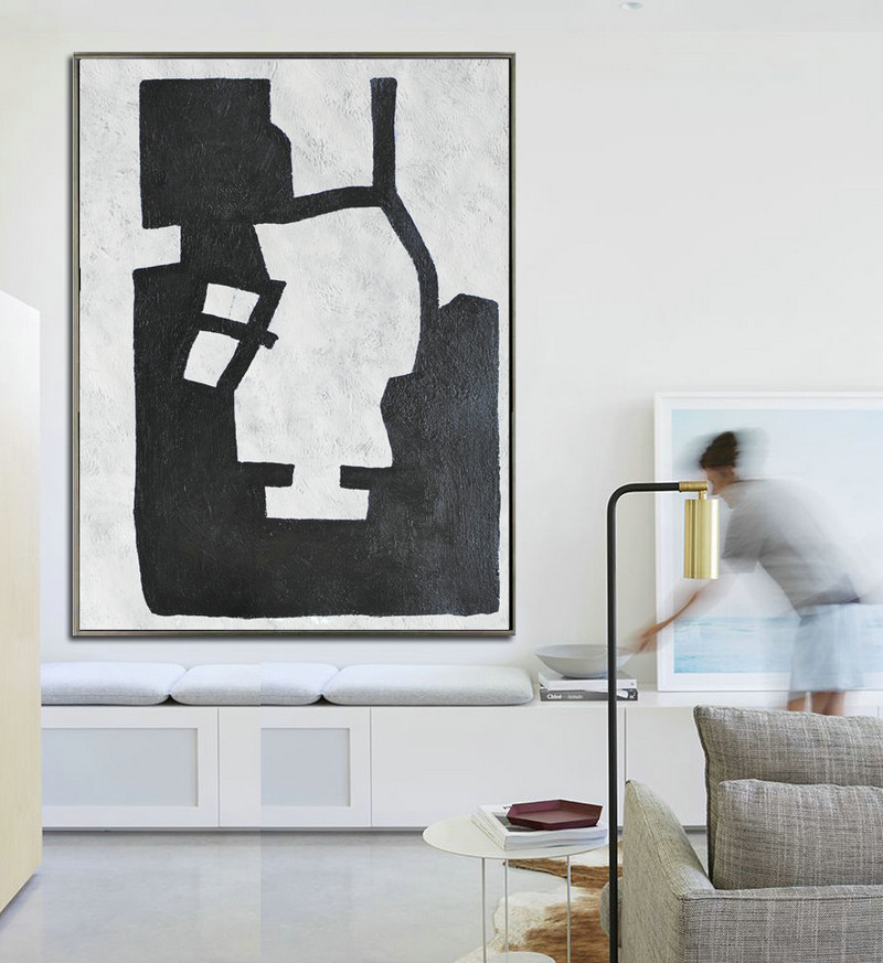 Large Abstract Art, Hand Painted Oil Painting Minimalist Art, Abstract Painting On Canvas, Geometric Art. Black White