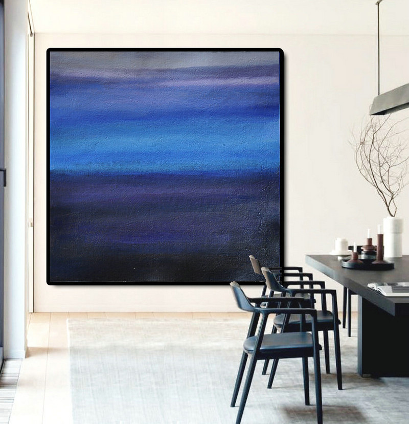 Large Abstract Painting Canvas Art, Landscape Painting On Canvas, Acrylic Painting Wall Art By Dao. Black Purple Blue.