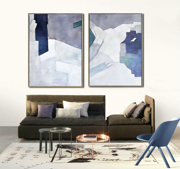 Set Of 2 Large Contemporary Painting, Abstract Canvas Art, Original Artwork by Biao. Blue, orange, pink, green, etc.