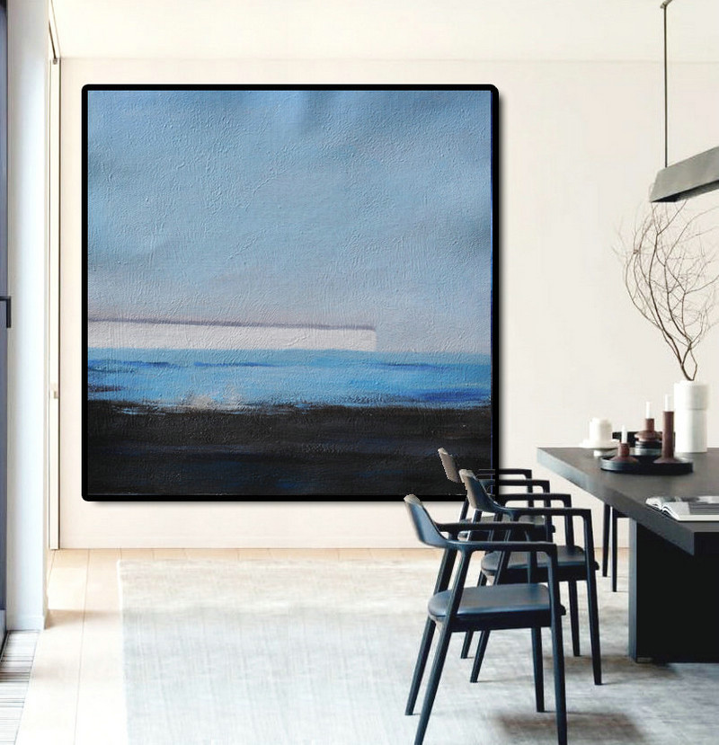 Large Abstract Painting Canvas Art, Landscape Painting On Canvas, Acrylic Painting Wall Art By Dao. Black White Blue.
