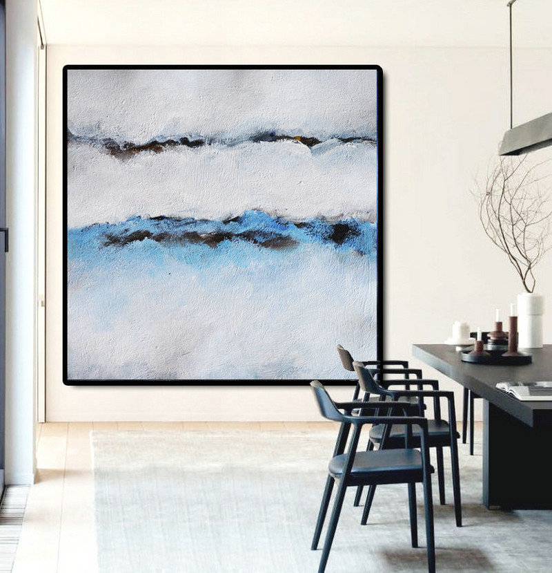 Large Abstract Painting Canvas Art, Landscape Painting On Canvas Acrylic Painting Wall Art By Dao. Blue Black White Brown
