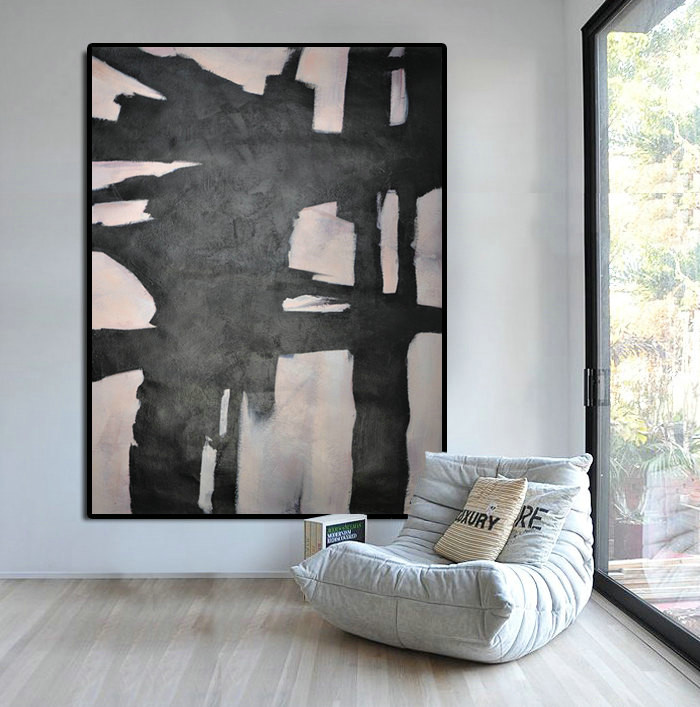 Extra Large Abstract Painting, Horizontal Acrylic Painting Large Wall Art.  Black White And Pink
