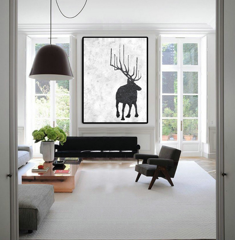 Extra Large Abstract Painting On Canvas, Textured Painting Canvas Art, Black And White Reindeer Original Art Handmade.