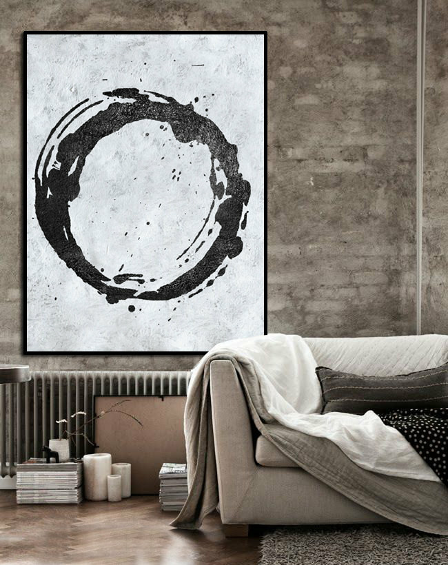 Large Abstract Art, Handmade Painting Minimalist Art, Abstract Painting On Canvas, Modern Art Circle. Black White.