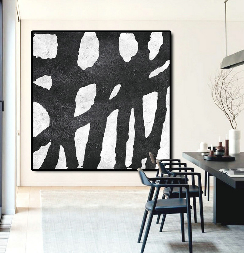 Abstract Painting Extra Large Canvas Art, Handmade Black White ...
