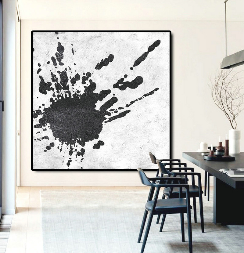 Original Abstract Painting Extra Large Canvas Art, Handmade Black White Acrylic MinimaIlst Painting.