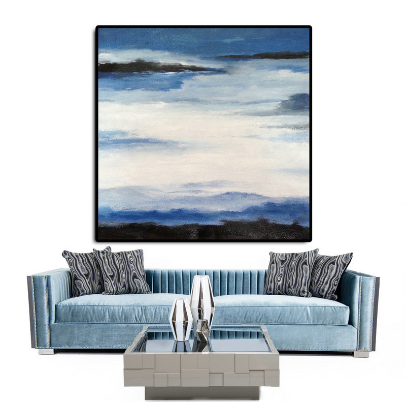 Original Art Extra Large Abstract Painting on Canvas, Landscape Painting Canvas Art By Dao. Blue White Black.