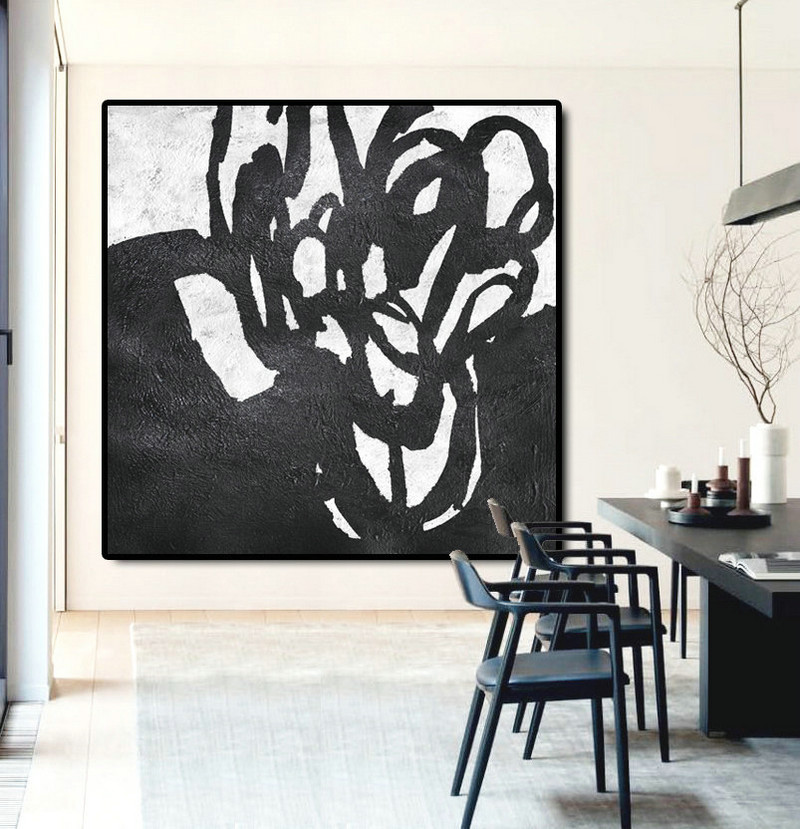 Abstract Painting Extra Large Canvas Art, Handmade Black White Flowers, Acrylic MinimaIlist Painting.