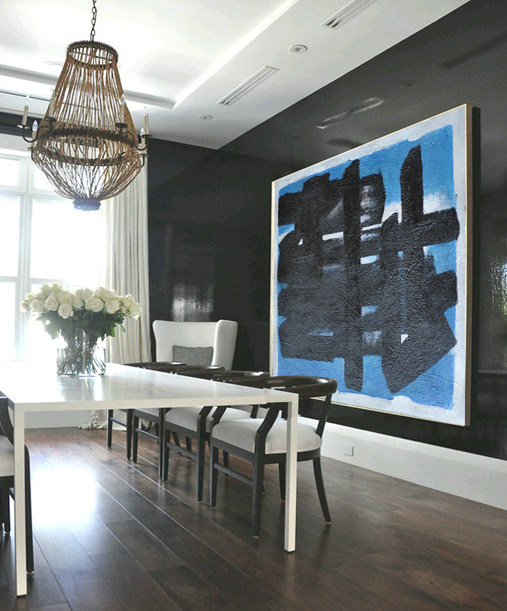 Large Oil Painting Minimalist Art, Hand Painted Contemporary Art Abstract Painting, Geometric Art. Black White Blue.
