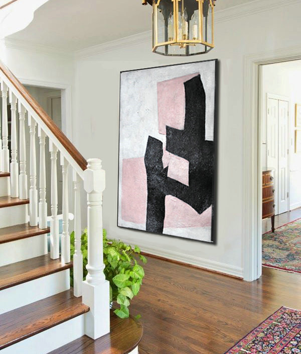 Large Abstract Art, Hand Painted Aclylic Painting On Canvas Minimalist Art, Black White Pink.