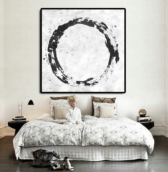 Original Abstract Painting Extra Large Canvas Art, Handmade Black White Circle Acrylic MinimaIlst Painting.