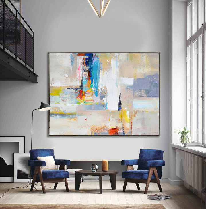 Handmade Extra Large Contemporary Painting, Huge Abstract Canvas Art, Painted by Leo. White, yellow, red, gray, blue