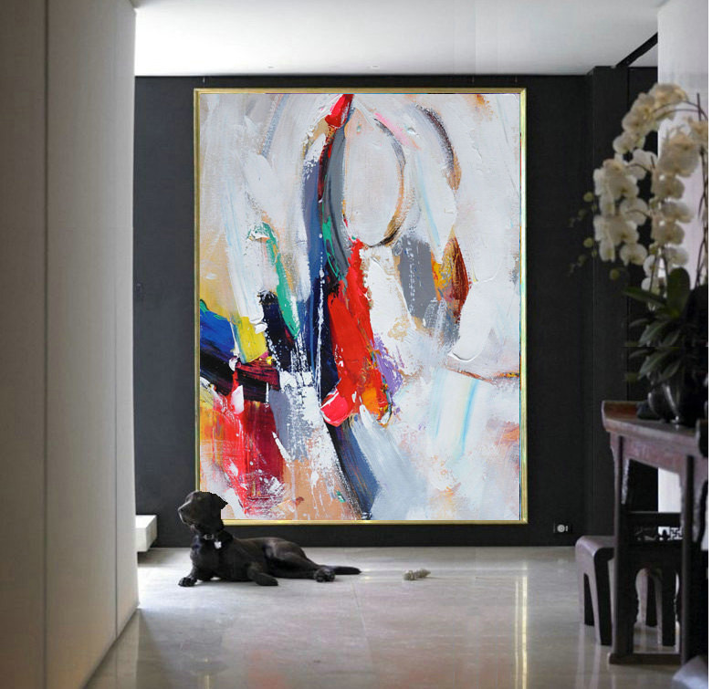 Handmade Extra Large Contemporary Painting, Huge Abstract Canvas Art, Painted by Leo. Grey, blue, orange, green, red.
