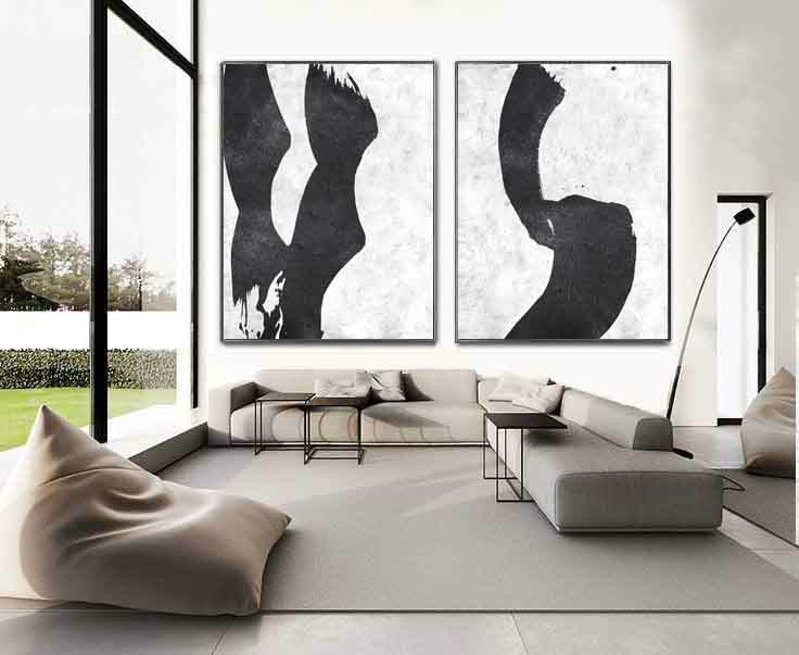 Set Of 2 Extra Large Acrylic Painting On Canvas, Minimalist Painting Canvas Art, Abstract Painting Wall Art, HANDMADE. - Click Image to Close