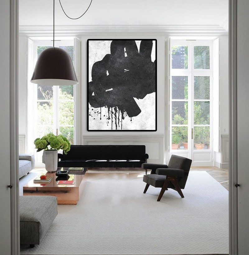Extra Large Abstract Painting On Canvas, Textured Painting Canvas Art, Black