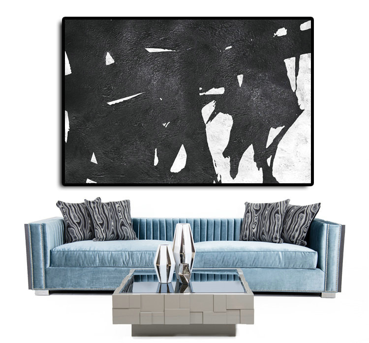 Handmade Extra Large Acrylic Painting On Canvas, Black White Painting Abstract Art, Horizontal Modernl Art.