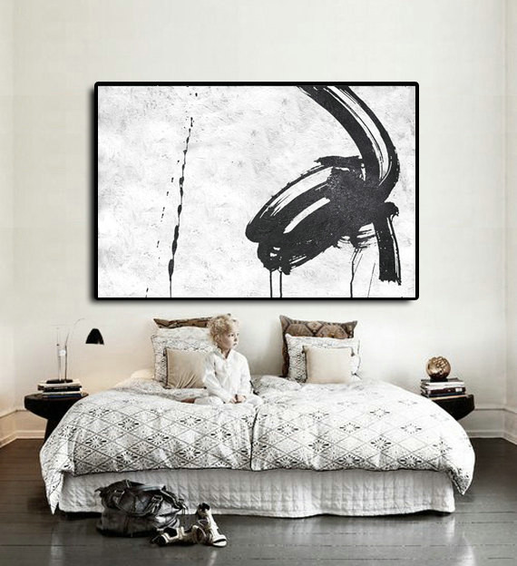 Handmade Extra Large Acrylic Painting On Canvas, Black White Painting Abstract Art, Horizontal Modern Art.