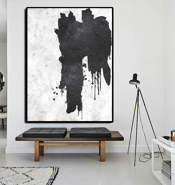 Extra Large Abstract Painting On Canvas, Textured Painting Canvas Art, Black And White Original Art Handmade.