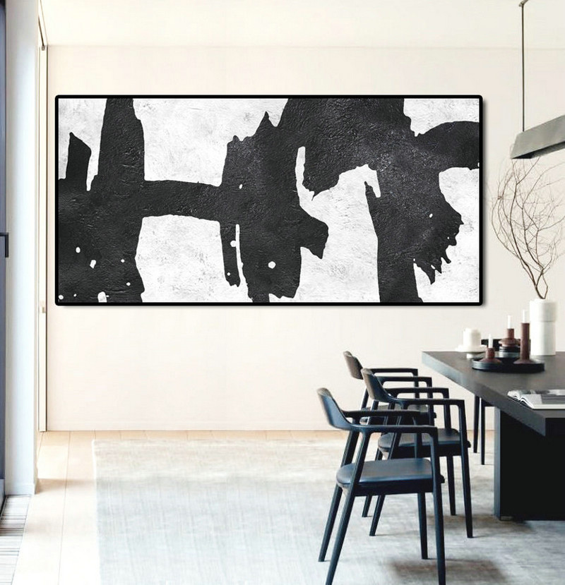 "Extra Large 72"" Horizontal Acrylic Painting On Canvas, Minimalist Painting Canvas Art, Black And White, Original Art."