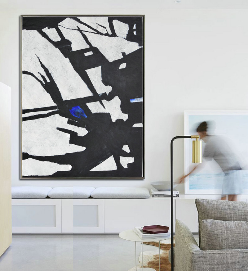 Abstract Painting Modern Minimalist Art Original Art Large Canvas Art. Black and White, Hand Painted.