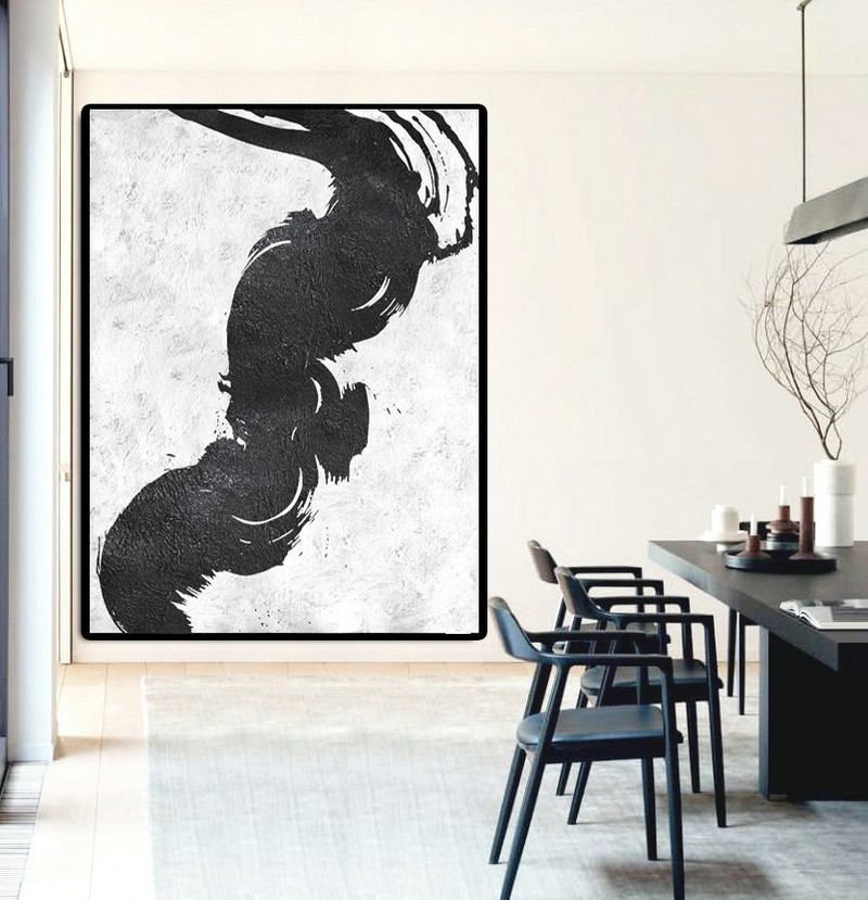 Extra Large Painting On Canvas, Textured Painting Canvas Art, Black And White Original Art Handmade