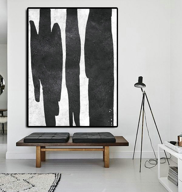 Extra Large Painting On Canvas, Textured Painting Canvas Art, Black And White Original Art Handmade.