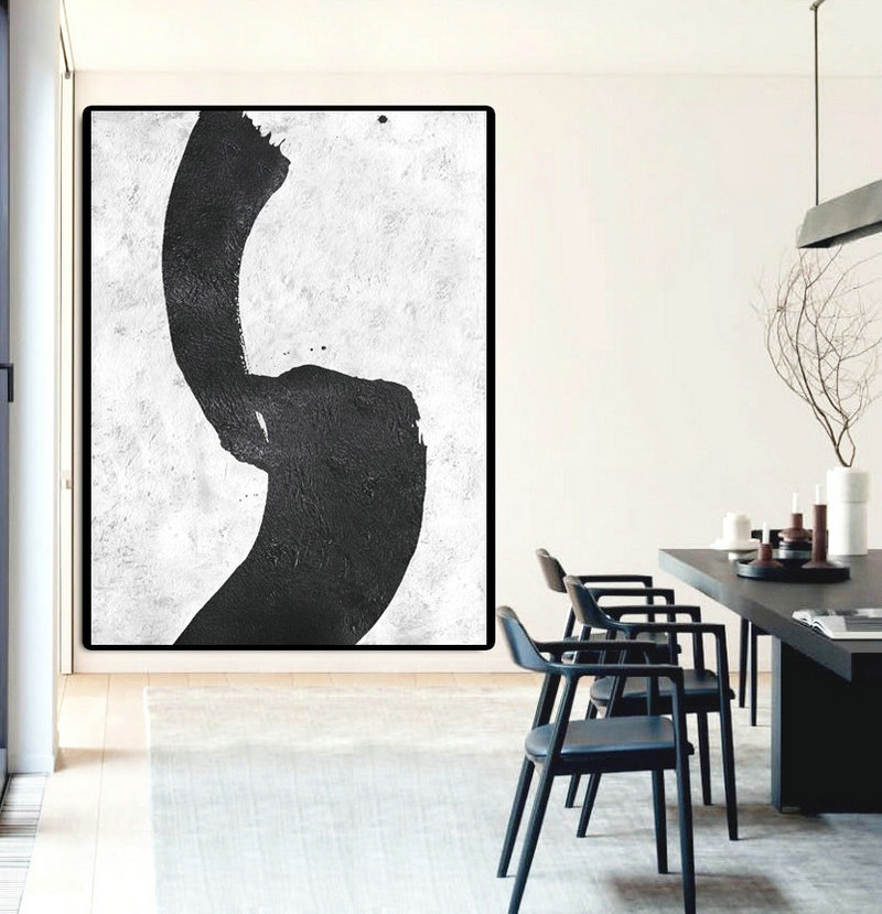 Large Painting On Canvas, Textured Painting Canvas Art, Black And White Original Art.