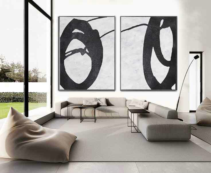 Set Of 2 Huge Contemporary Art Acrylic Painting On Canvas, Minimalist Canvas Wall Art Home Decor, HANDMADE.