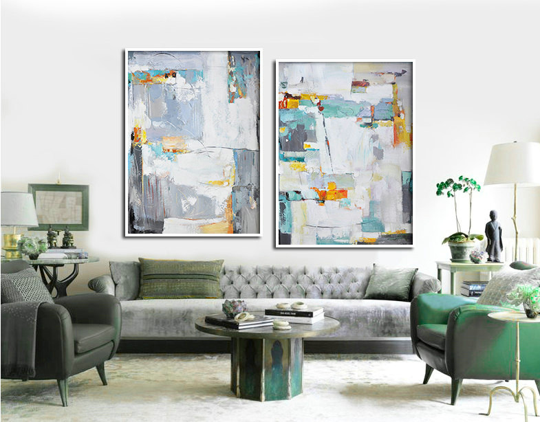 Set Of 2 Large Abstract Painting Canvas Art, Contemporary Art, Original Art, Hand paint. Green, yellow, orange, grey.
