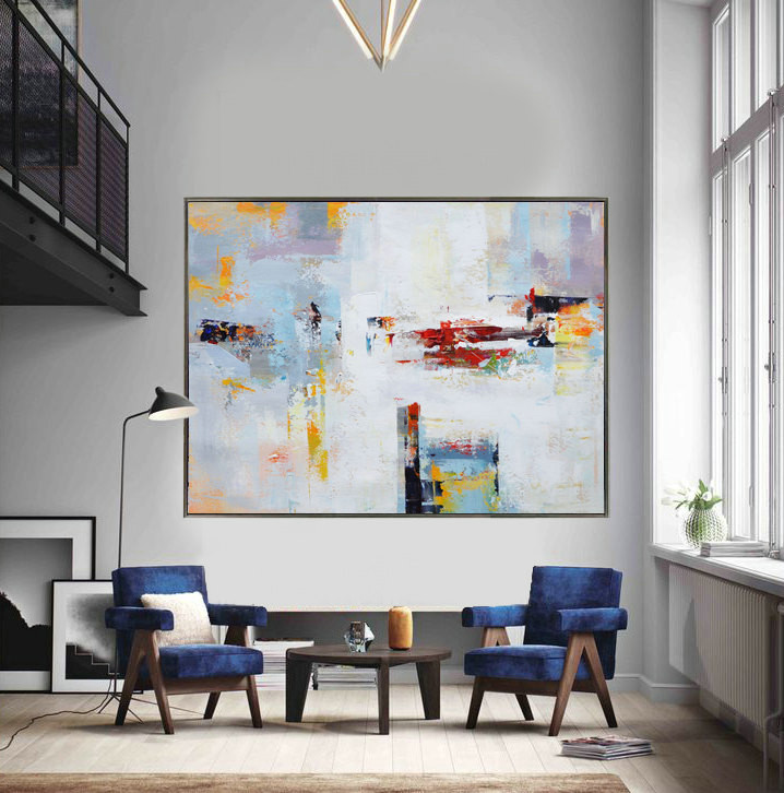 Extra Large Contemporary Painting, Huge Abstract Canvas Art, Original Artwork by Leo. White, yellow, red, gray, blue.