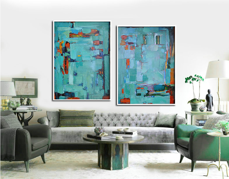 Set Of 2 Large Abstract Painting Canvas Art, Contemporary Art Wall Decor, Original Art by Biao, Green, yellow, orange,red