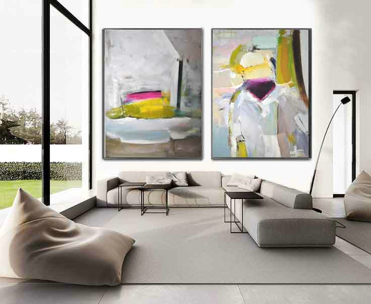 Set Of 2 Huge Contemporary Art Acrylic Painting On Canvas, Abstract Canvas Wall Art - By Biao