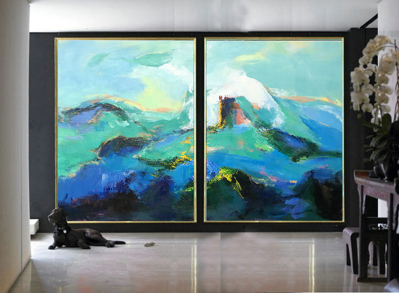 Set Of 2 Large Contemporary Painting, Abstract Canvas Art, Original Artwork, Hand paint. Blue, green, black, pink - By Leo