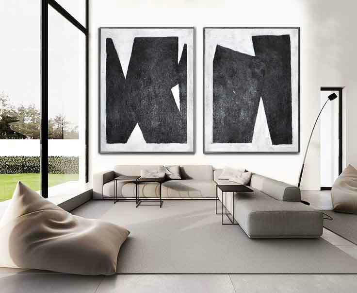 Set Of 2 Huge Contemporary Art Acrylic Painting On Canvas, Minimalist Canvas Wall Art By Celine