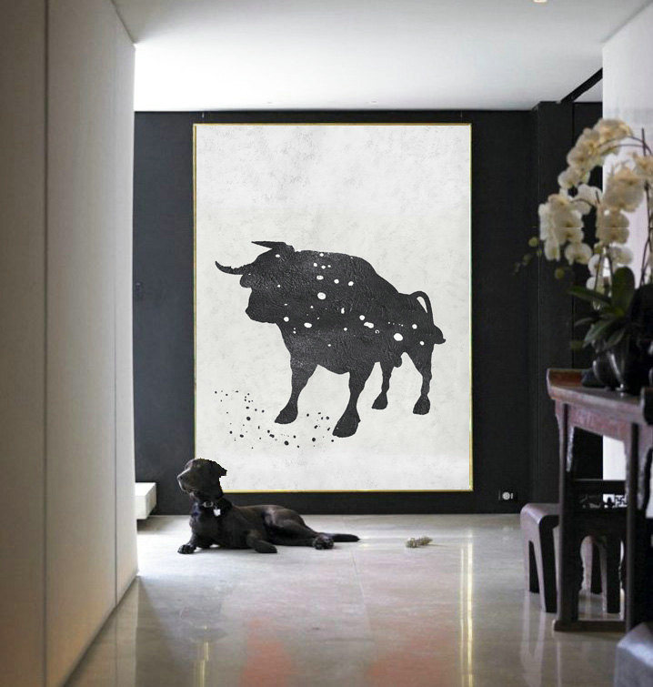 Black And white Acrylic Painting Minimalist Art, Large Canvas Art. Modern Art Bull Art.