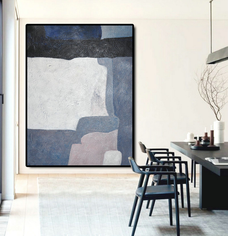 Large Abstract Art Oil Painting Canvas Art, Contemporary Art Hand Painted Abstract Painting, White Black Blue Grey.