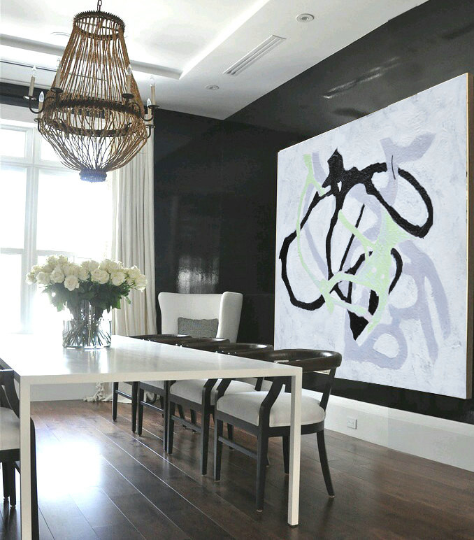 Handmade Painting Large Abstract Art, Hand Painted Aclylic Painting On Canvas Minimalist Art, Black White Green.