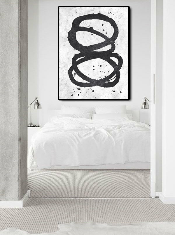 Extra Large Abstract Painting On Canvas, Textured Painting Canvas Art, Black And White Twist Circles, Original Art Handmade.