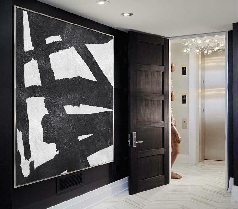 Original Artwork Extra Large Abstract Painting, Acrylic Painting Canvas Art Hand Painted Black And White Minimalism .