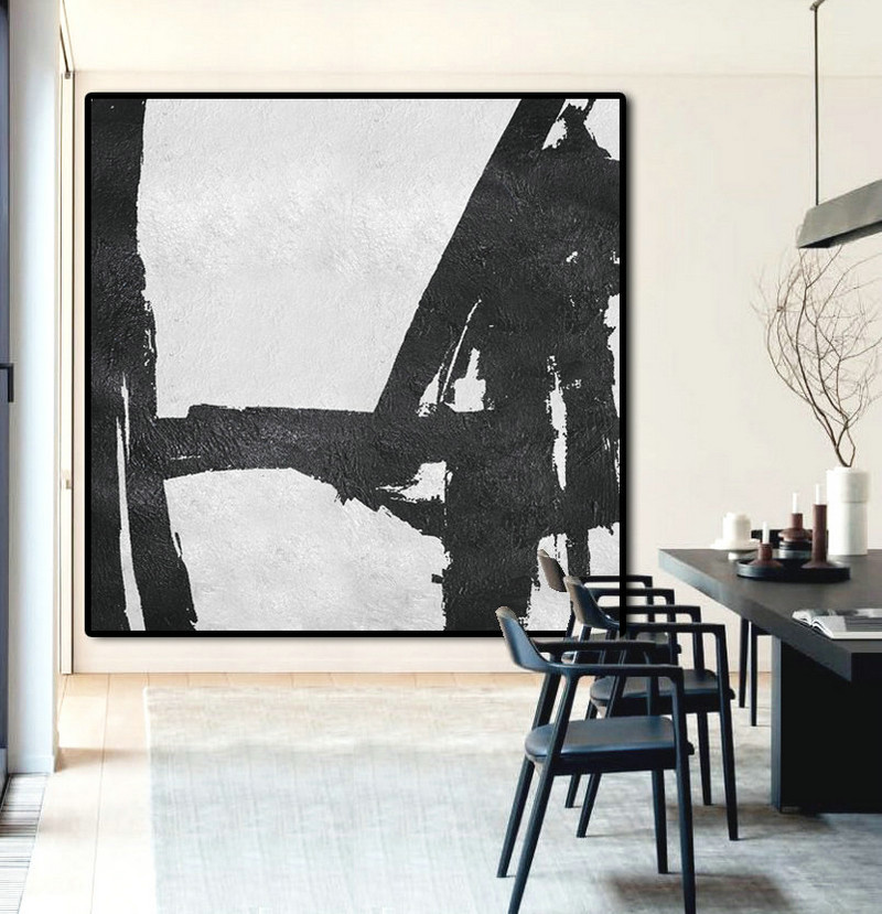 Original Artwork Extra Large Abstract Painting, Acrylic Painting Canvas Art Black And White Minimalst Painting