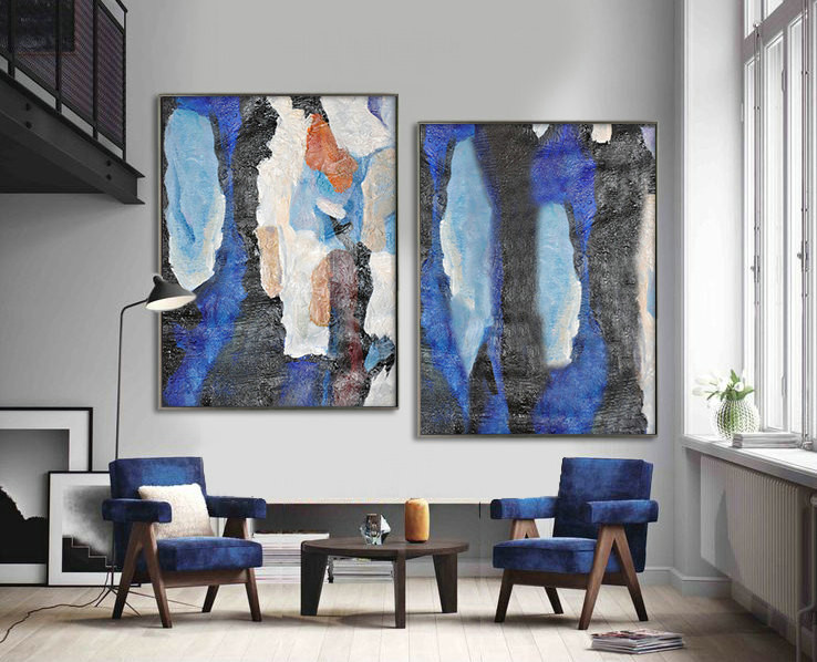 Set Of 2 Huge Contemporary Art Acrylic Painting On Canvas, Abstract Canvas Wall Art Home Decor, HANDMADE. Blue, black, orange, brown, beige.