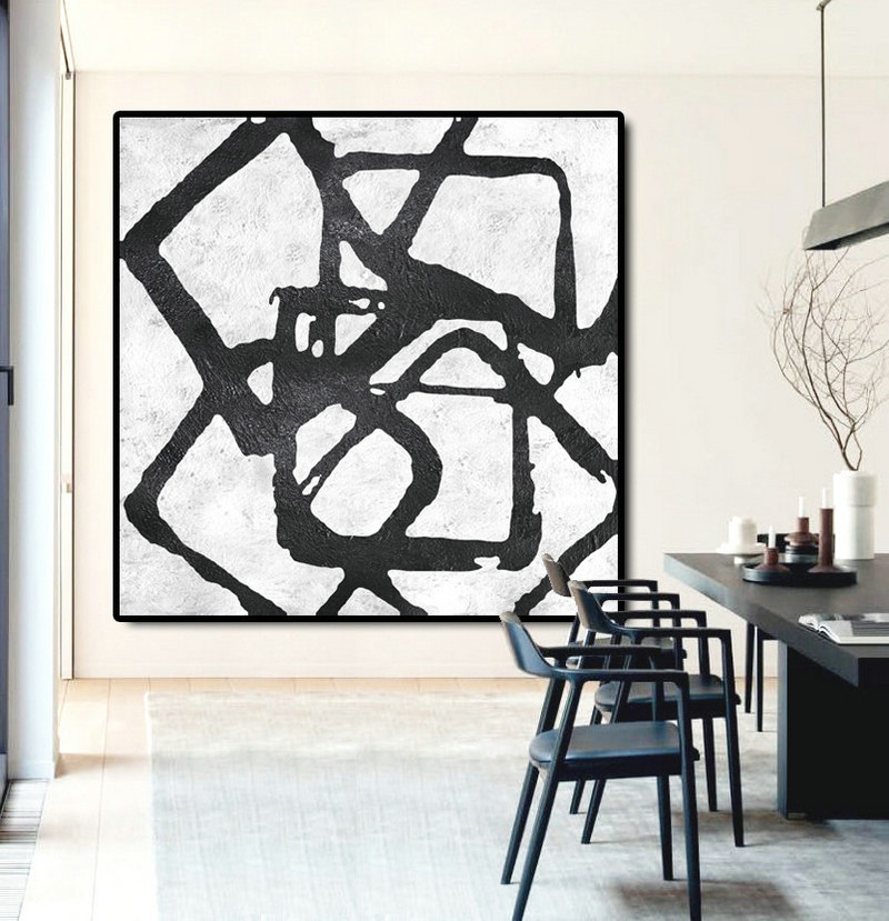Abstract Painting Extra Large Canvas Art, Handmade Black White Geometric Art, Acrylic MinimaIlist Painting.