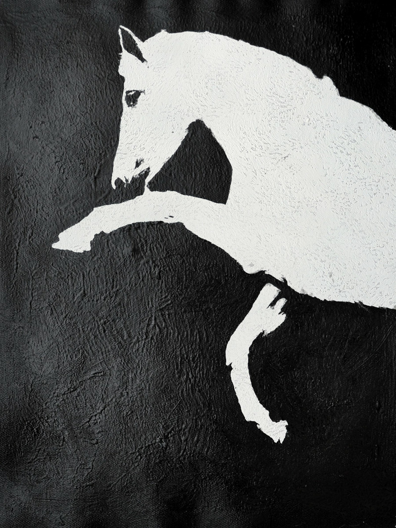 Black And White Horse Painting Minimalist Art Large