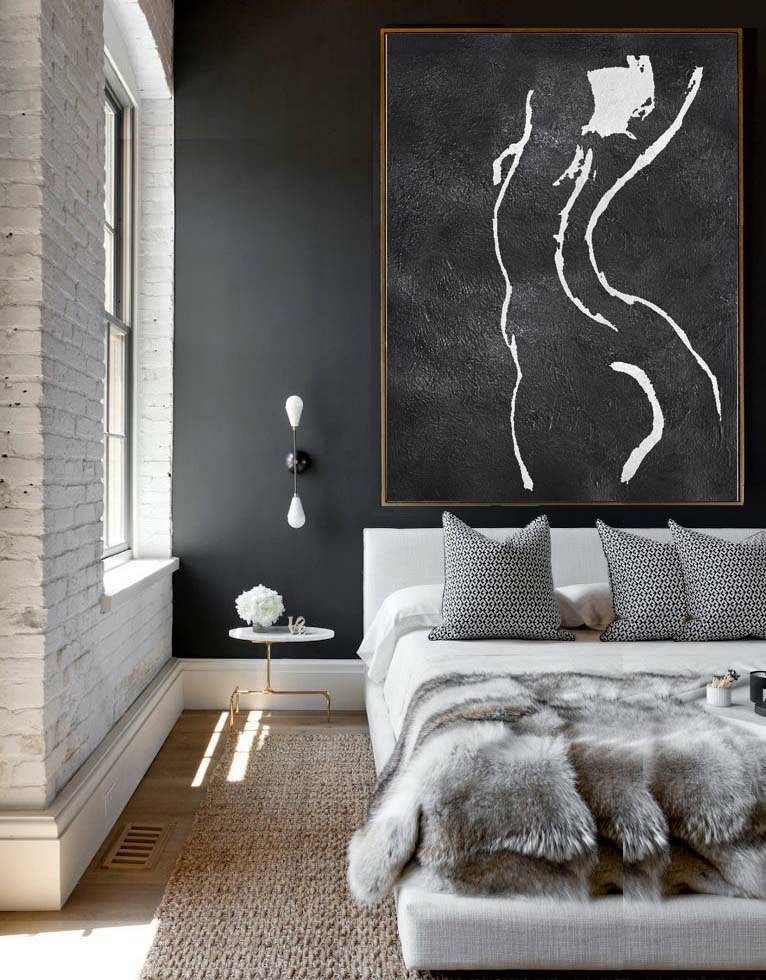 Extra Large Acrylic Painting On Canvas, Minimalist Painting Canvas Art, Black And White Nude Painting