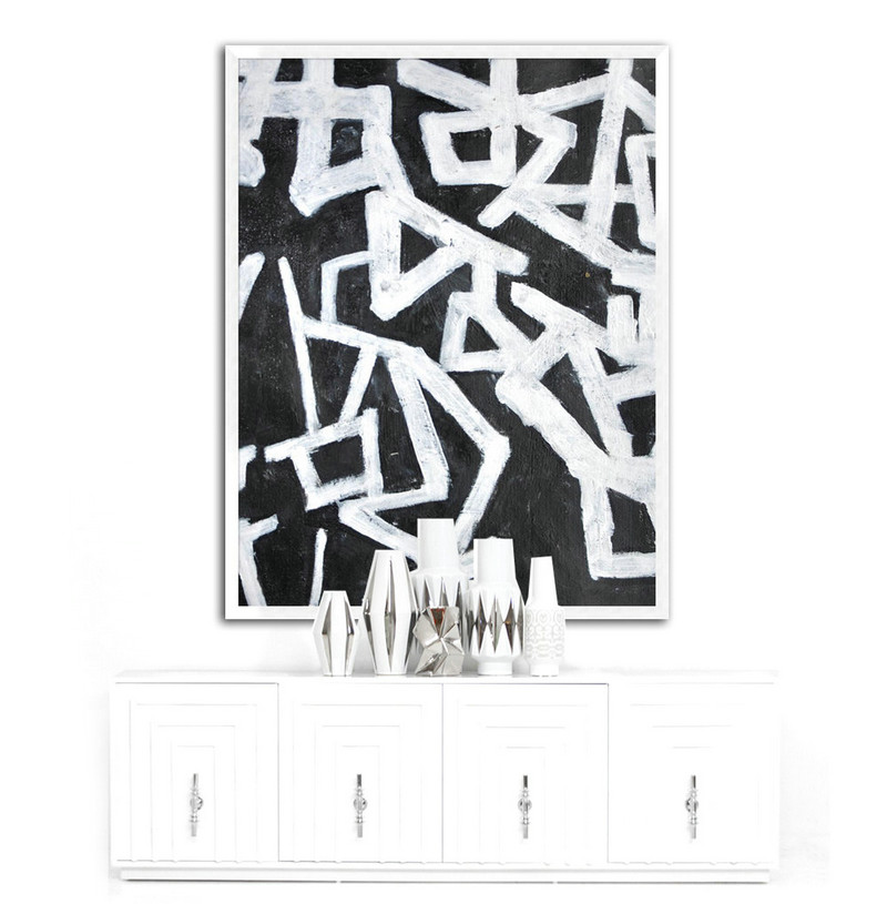 Abstract Painting Large Canvas Art, Modern Art Black and White Minimalist Art. Hand Painted Acrylic Painting on Canvas,