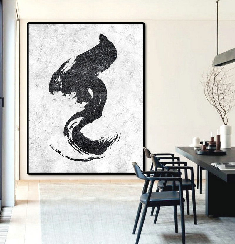 Large Acrylic Painting On Canvas, Modern Art Abstract Painting, Hand Painted Original Art Black And White.
