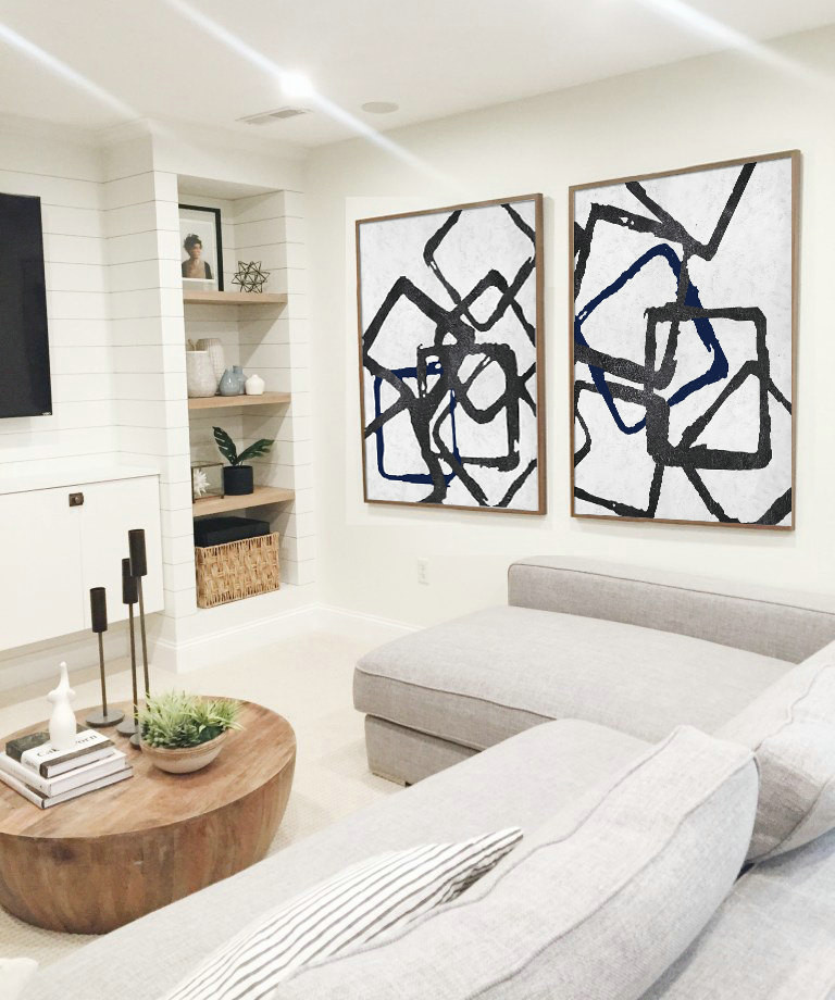 Set Of 2 Huge Contemporary Art Acrylic Painting On Canvas Minimalist Wall