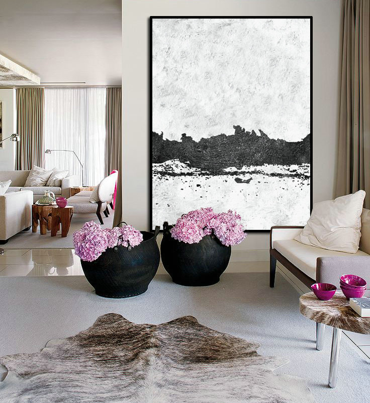 Large Abstract Art, Handmade Painting Minimalist Art, Abstract Painting On Canvas, Modern Art Landscape. Black White.