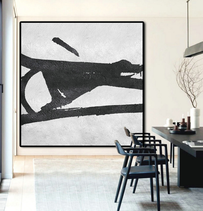 Original Artwork Extra Large Abstract Painting, Acrylic Painting Canvas Art Black And White Minimalist Painting